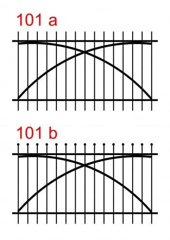 zwei Zaunausführungen mit unterschiedlichen oberen Stabenden