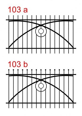 zwei Zaundesigns mit unterschiedlichen oberen Stabenden mit speziell montierten Stäben und einem Muster aus zwei Kreisen