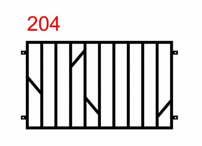 Design eines einfachen und funktionalen Zauns mit speziell platzierten vier kleineren Stäben in der Mitte