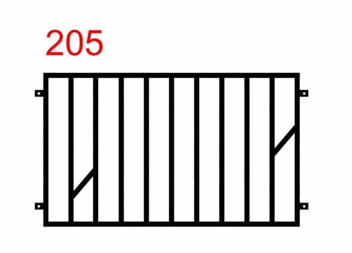 Design eines einfachen und funktionalen Zauns mit speziell platzierten zwei kleineren Stäben in der Mitte