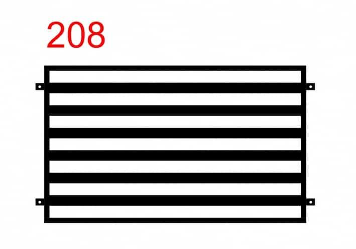 Muster eines einfachen, funktionalen und eleganten Zauns mit dickerem, horizontal montiertem