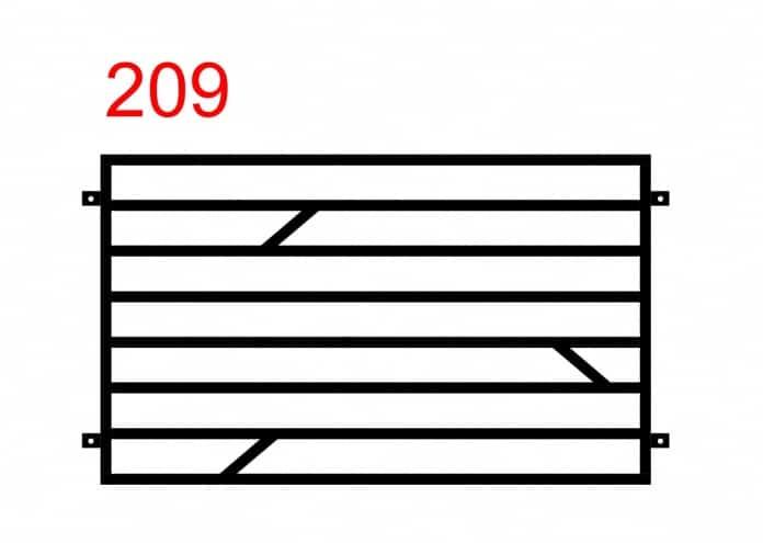 Muster eines einfachen Funktionszauns mit waagerecht montierten Stäben mit drei kleineren Stäben in der Mitte