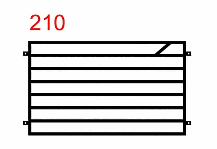 Muster eines einfachen Funktionszauns mit horizontal montierten Stäben und einem kleineren Stab in der Mitte