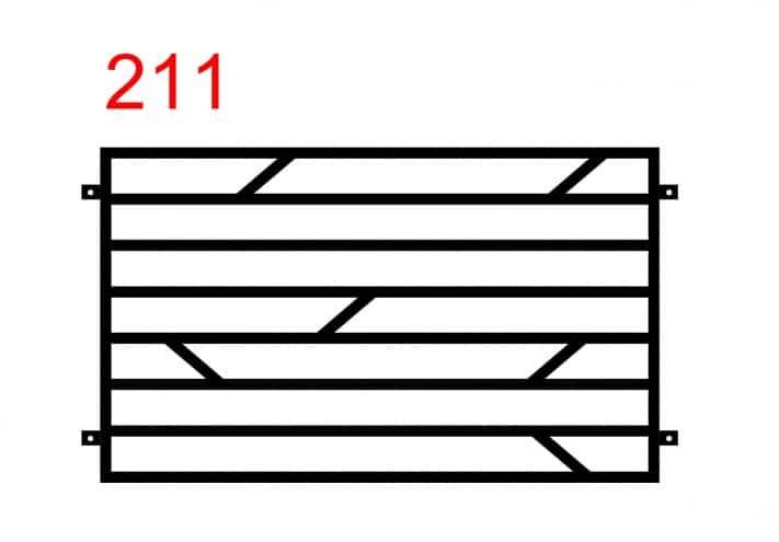 Muster eines einfachen Funktionszauns mit waagerecht angebrachten Stäben und einem Muster aus kleineren Stäben in der Mitte