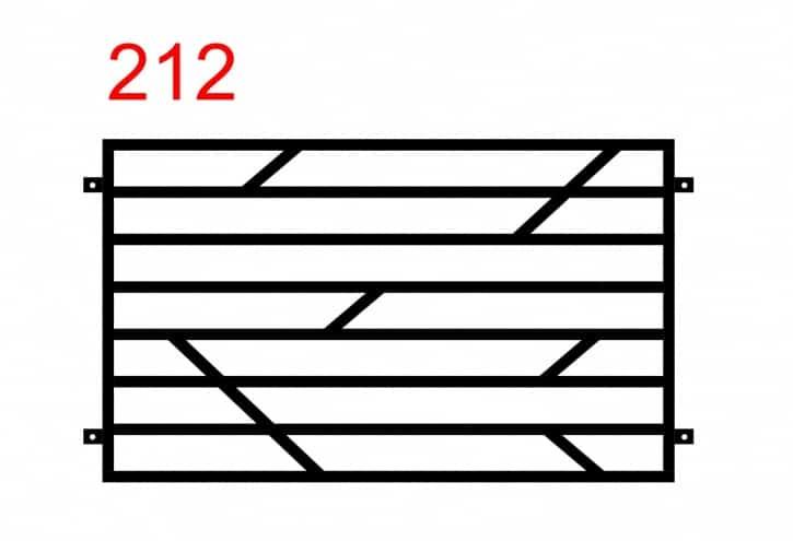 Muster eines einfachen Funktionszauns mit waagerecht angebrachten Stäben und einem speziellen Muster aus kleineren Stäben in der Mitte