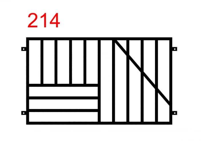 Gerades Zaunmuster mit quer montiertem Stab, der mit geraden Stäben auf der rechten Seite verbunden ist, und horizontal montierten 3 Stäben auf der linken Seite