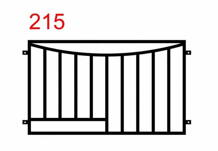 Gerades Zaunmuster mit dem zweiten nach innen gebogenen Gelenk und einer horizontal montierten Stange auf der linken Seite, die mit den geraden Stangen verbunden ist