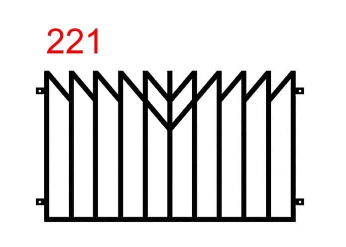 Metallzaun mit einem Muster, das einem Holzzaun mit einem Spiegelbild und einem zusätzlichen minimalistischen Muster in der Mitte des Zauns ähnelt