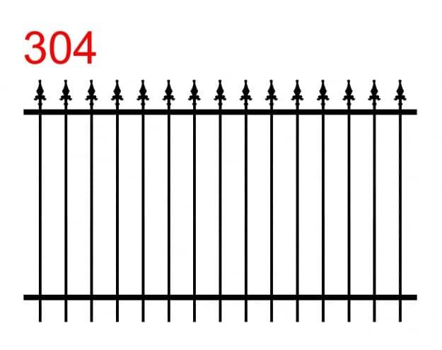 das Muster eines einfachen Zauns mit etwas längeren Stäben, die in speziellen Pfeilspitzen enden