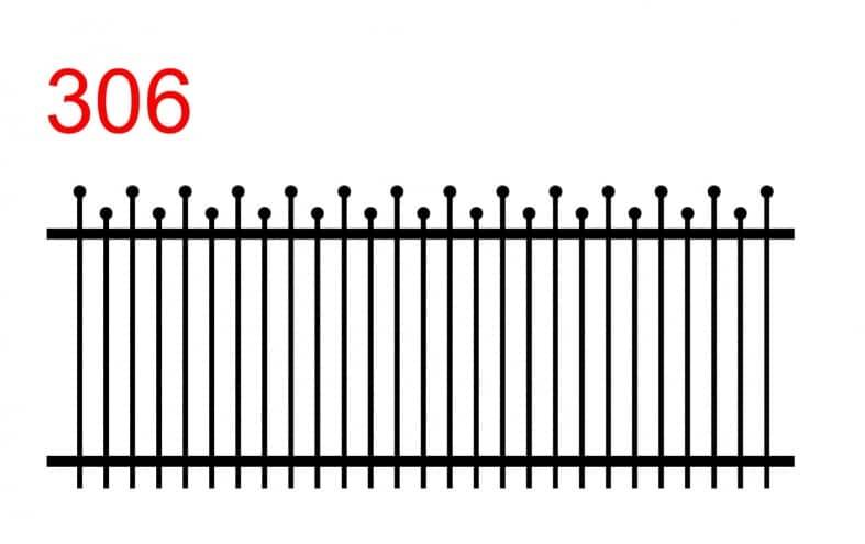 Muster eines einfachen Zauns mit Stäben, die in Kugeln enden