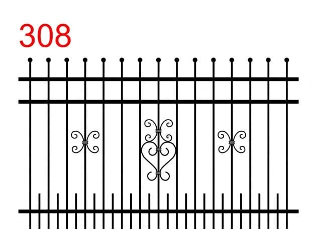 einfaches Zaundesign mit leicht überstehenden, in Kugeln endenden Stäben und kleinen Stäben in der unteren Verbindung zwischen den längeren Stäben und einer besonderen Verzierung in der Mitte