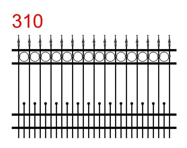 Muster eines einfachen Zauns mit leicht vorstehenden Stäben, die in speziellen Pfeilspitzen mit einer kleinen Kugel an der Spitze enden, und kleinen Stäben, die in einer Kugel und einer Spur von Kreisen enden