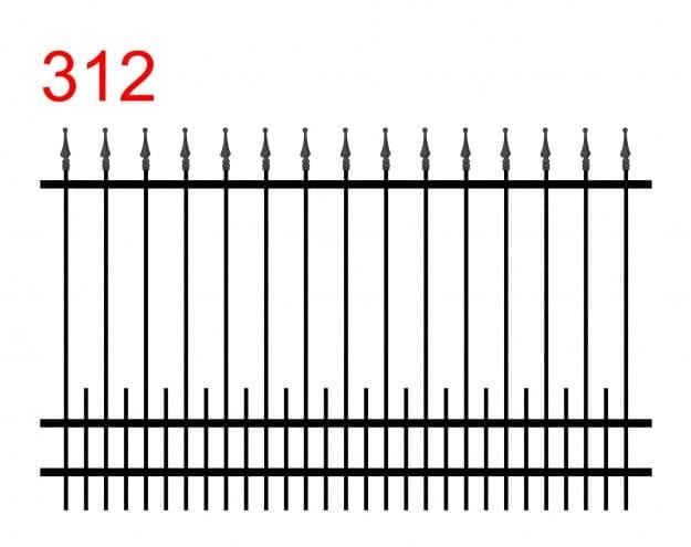 das Muster eines einfachen Zauns mit leicht vorstehenden Stäben, die in speziellen Pfeilspitzen mit einer kleinen Kugel an der Spitze und kleinen Stäben am unteren Gelenk enden