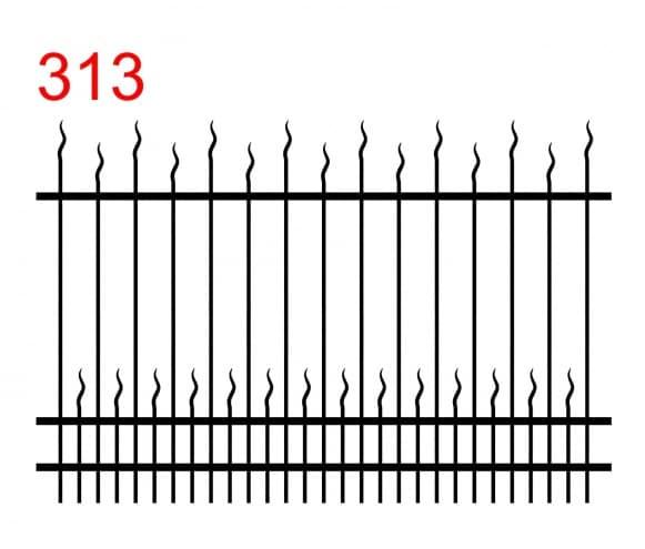 einfaches Spitzbogenmuster mit leicht vorstehenden Stäbchen und kleinen Stäbchen, die in einer wellenförmigen Spitze enden