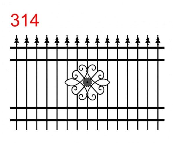 einfaches Zaundesign mit leicht vorstehenden Stäben, die in speziellen Speerspitzen enden und einem Design, das einer offenen Blume in der Mitte ähnelt