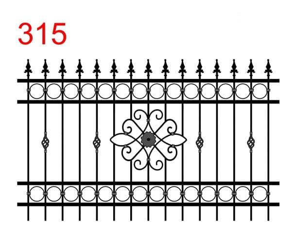 das Design eines einfachen Zauns mit leicht überstehenden Stäben, die in speziellen Speerspitzen enden, ein Design, das an eine offene Blume in der Mitte erinnert und spezielle Ornamente und Spuren