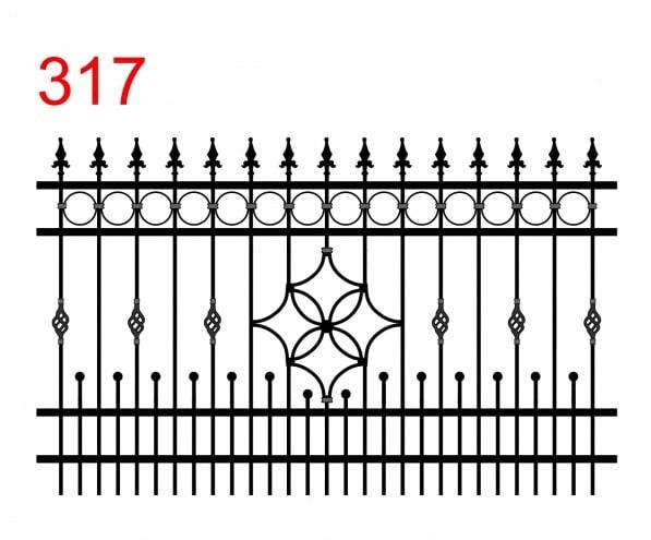 Muster eines einfachen Feuers mit leicht vorstehenden Stäben, die in speziellen dolchförmigen Pfeilspitzen mit gewellter Klinge enden, kleinen Stäben, die in Stacheln enden und speziellen Verzierungen