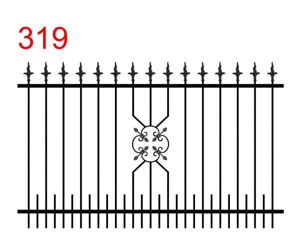 das Design eines einfachen Ogers mit leicht abstehenden Stäben, die in speziellen dolchförmigen Pfeilspitzen mit gewellter Klinge enden, kleinen Stäben und einem floralen Muster mit speziellen Gelenken an den Ecken