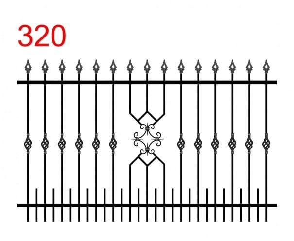 Design eines einfachen Zauns mit leicht überstehenden Stäben, die in Pfeilspitzen mit Loch enden, und einer schönen Dekoration