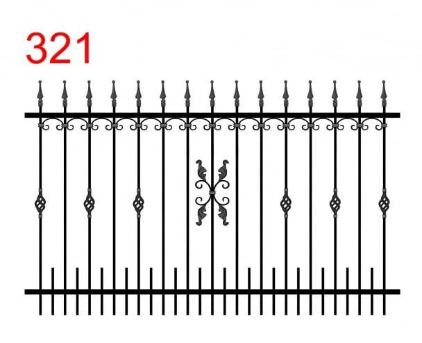 Design eines einfachen Zauns mit leicht vorstehenden Stäben, die in Pfeilspitzen enden, mit einer kleinen Kugel mit schönen Verzierungen