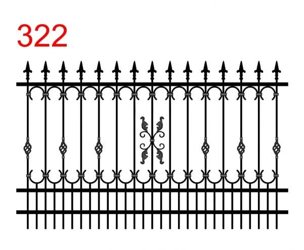 Ausführung eines einfachen Zauns mit leicht vorstehenden Stäben mit speziellen Pfeilspitzen, die besondere Verzierungen enthalten
