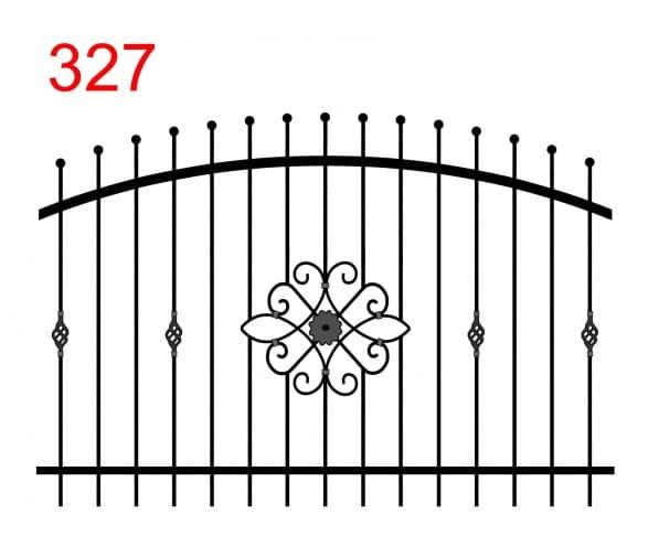 Zaundesign mit bogenförmigem Obergelenk mit leicht vorstehenden Stäben, die in Kreisen enden, und speziellen Ornamenten