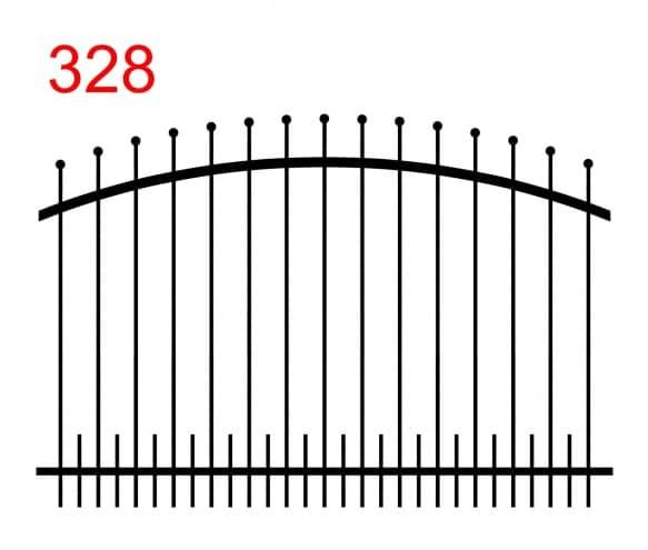 Zaunausführung mit bogenförmigem oberen Gelenk mit leicht vorstehenden, in Kugeln endenden Stäben und kleinen Stäben im unteren Gelenk