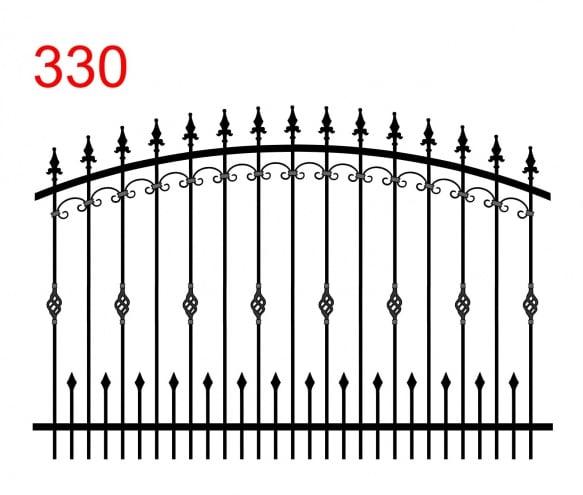 Zaunmuster mit bogenförmigem Obergelenk mit leicht vorstehenden Stäben, die in Lanzenspitzen enden, kleine Lanzenspitzen mit Kugel und spezieller Ornamentik