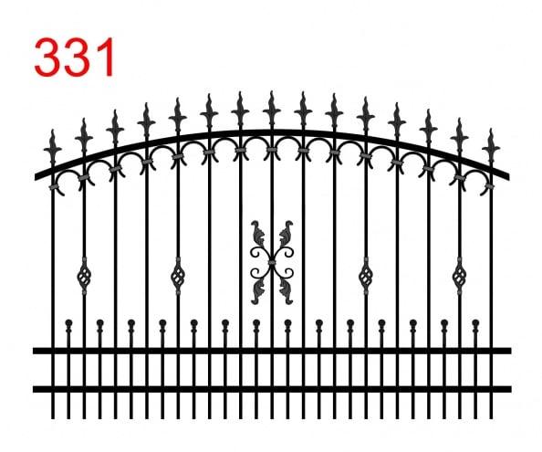 Zaundesign mit bogenförmigem Obergelenk mit leicht auskragenden Stäben, die in Speerspitzen enden, kleine Speerspitzen mit Kugel und attraktivem Dekor