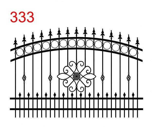 Zaundesign mit bogenförmiger Oberfuge mit blumenförmiger Verzierung in der Mitte und speziellen Ornamenten und Trails