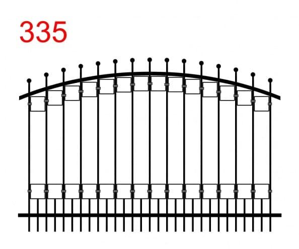 Zaunmuster mit Oberlenker in Form eines Bogens mit leicht vorspringenden Stäben, die in Kugeln und Rechteckspuren enden