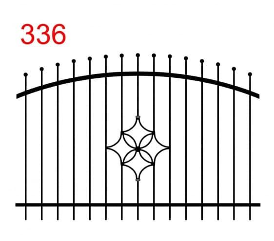 Zaundesign mit bogenförmigem oberen Gelenk mit leicht abstehenden Stäben, die in Kugeln enden und einer schönen Verzierung in der Mitte