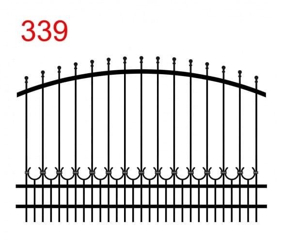 Muster des Zauns mit einer bogenförmigen oberen Verbindung mit leicht vorstehenden Stäben, die in einer Kugel enden, und einer Spur von Hufeisen, die mit den kleineren Stäben verbunden sind