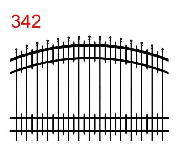 Zaundesign mit doppelt gebogenem Oberlenker mit leicht überstehenden Kugelstäben und kleineren Stäben zwischen den Hauptstäben