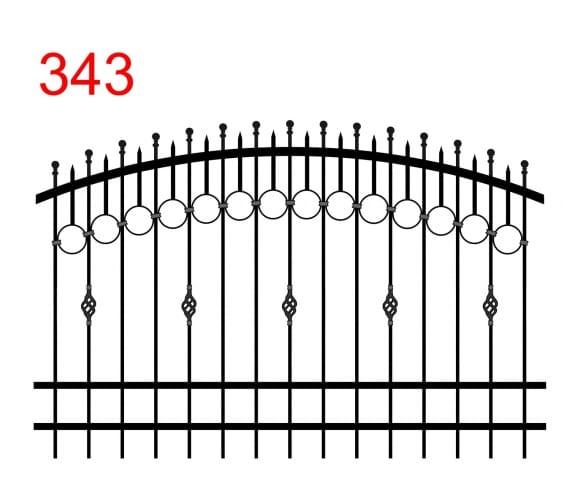 Zaunmuster mit doppelt gewölbtem Oberlenker mit leicht vorstehenden Stäben, die in einer Kugel enden, Spur von Kreisen, die mit den kleineren Stäben verbunden sind