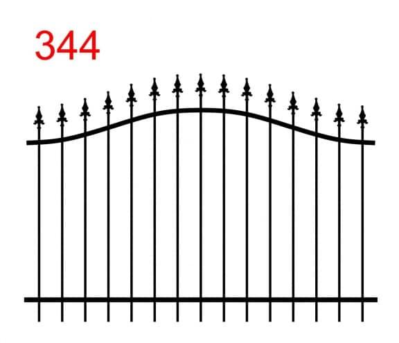 einfaches Zaundesign mit bogenförmiger oberer Verbindung mit leicht vorstehenden Stäben, die mit speziellen Pfeilspitzen enden
