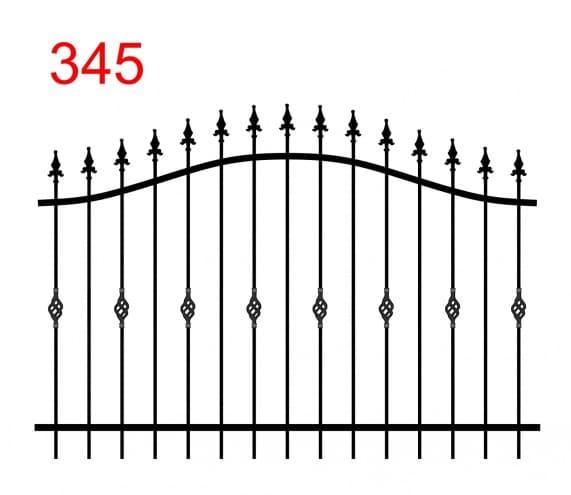 einfaches Zaundesign mit bogenförmiger oberer Verbindung mit leicht vorstehenden Stäben, die in speziellen Speerspitzen und Zinken enden