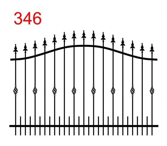 einfaches Zaundesign mit bogenförmigem oberen Anschluss mit leicht überstehenden Stäben, die in speziellen Lanzenspitzen enden, spezielle Verzierung der Stäbe und kleinere Stäbe am unteren Anschluss