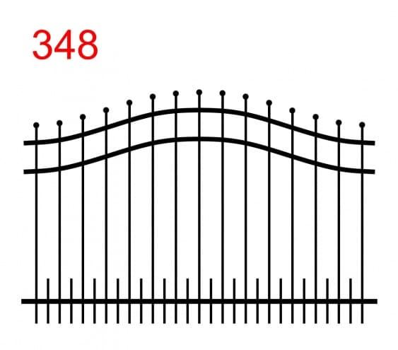 einfaches Zaundesign mit doppelt gewölbtem oberen Anschluss mit leicht überstehenden Stäben, die in einer Kugel enden, und kleineren Stäben am unteren Ende