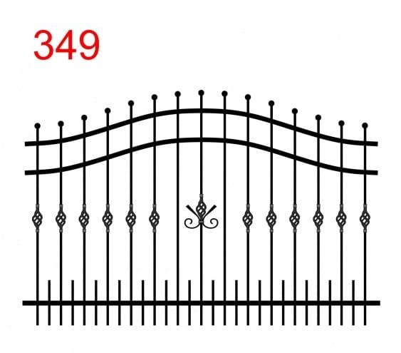 einfaches Zaundesign mit doppelt gewölbtem oberen Anschluss mit leicht vorstehenden Stäben, die in einer Kugel enden, und kleineren Stäben am unteren Ende sowie einem interessanten Muster auf der Grasnarbe der Stäbe