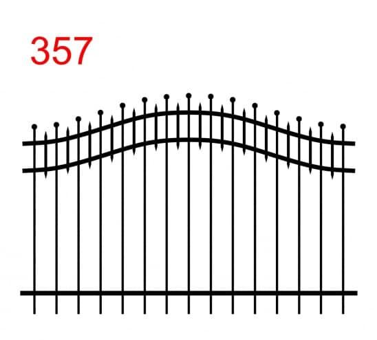 einfache Zaunkonstruktion mit zwei oberen Verbindungen in Form eines Bogens mit Stäben, die in Kugeln enden und kleineren Stäben in der oberen Verbindung