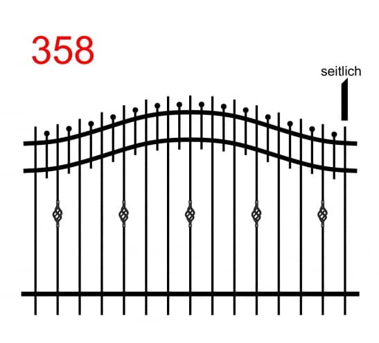 einfache Zaunkonstruktion mit zwei oberen Verbindungen in Form eines Bogens mit leicht überstehenden Stäben, kleinen Stäben, die in einer Kugel enden und einer besonderen Verzierung der Stäbe
