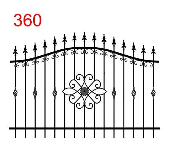 einfache Zaunkonstruktion mit zwei oberen Verbindungen in Form eines Bogens mit leicht überstehenden Stäben, die in einer speziellen Pfeilspitze enden, florales Muster in der Mitte und interessante Verzierungen