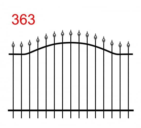 einfache Konstruktion des Zauns mit zwei oberen Verbindungen in Form eines Bogens mit leicht vorstehenden Stäben, die in einer Pfeilspitze enden