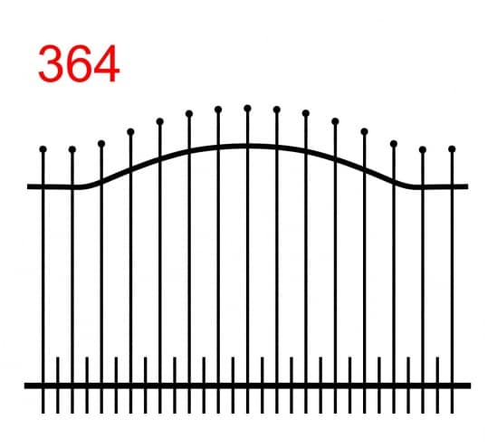 einfache Zaunkonstruktion mit zwei oberen Verbindungen in Form eines Bogens mit leicht vorstehenden Stäben, die in einer Kugel enden, und kleinen Stäben in der unteren