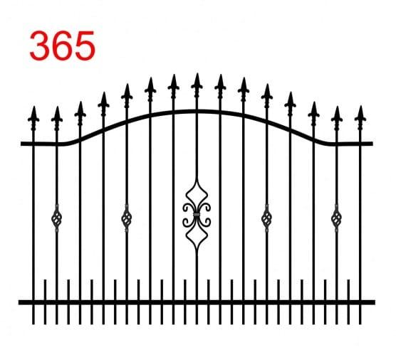 einfache Konstruktion des Zauns mit zwei oberen Verbindungen in Form eines Bogens mit leicht hervorstehenden Stäben, die mit einer speziellen Pfeilspitze und einem interessanten Design enden