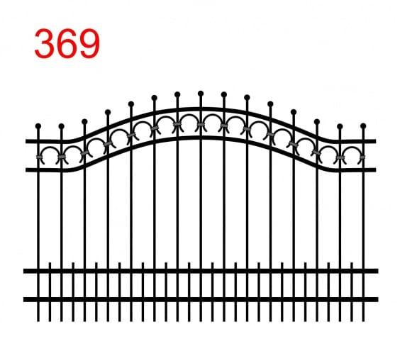 einfache Zaunkonstruktion mit zwei oberen Verbindungen in Form eines Bogens mit Stäben, die in einer Kugel enden und einer Spur von Hufeisen in der oberen Verbindung und zusätzlichen kleinen Stäben am unteren Ende