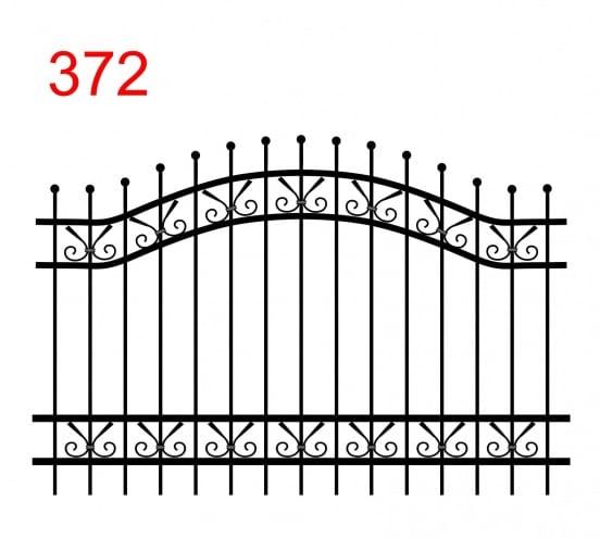einfache Zaunkonstruktion mit zwei oberen Verbindungen in Form eines Bogens mit leicht überstehenden Stäben, die in einer Kugel enden, und einem Weg zwischen den Verbindungen