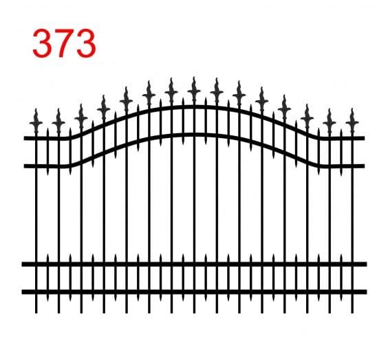 Zaunmuster mit zwei oberen Gliedern in Form eines Bogens mit leicht vorstehenden Stäben, die in einem dolchartigen Muster mit einer gewellten Klinge und kleinen Stäben zwischen den Gliedern enden