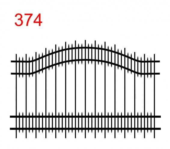 Zaundesign mit zwei oberen Gliedern in einem Bogen mit leicht vorstehenden Zako-Stäben und kleinen Stäben zwischen den Gliedern